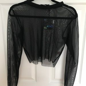 MISSGUIDED BLACK RIBBED NECK MESH CROP TOP